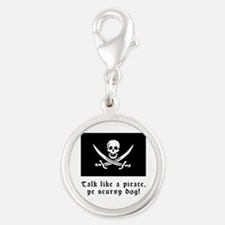 Jolly Roger Talk Like a Pirate Silver Round Charm