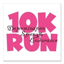 "10K Run Pink Square Car Magnet 3"" x 3"""