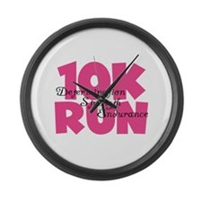 10K Run Pink Large Wall Clock