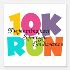"10K Run Multi-Colors Square Car Magnet 3"" x 3"""