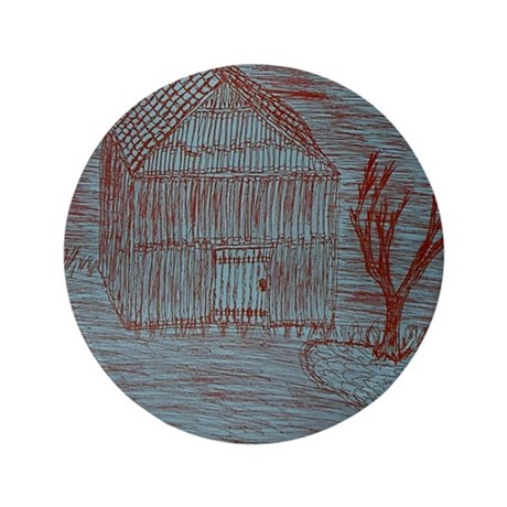 "Zoe's Art Stuff House Hut Tree in Red 3.5"" Button"