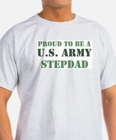 Proud Army Stepdad Ash Grey T-Shirt