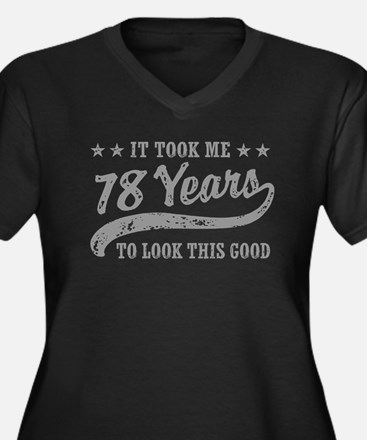 Funny 78th Birthday Women's Plus Size V-Neck Dark
