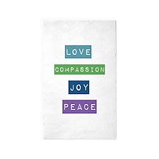 Love, Compassion, Joy, Peace 3'x5' Area Rug