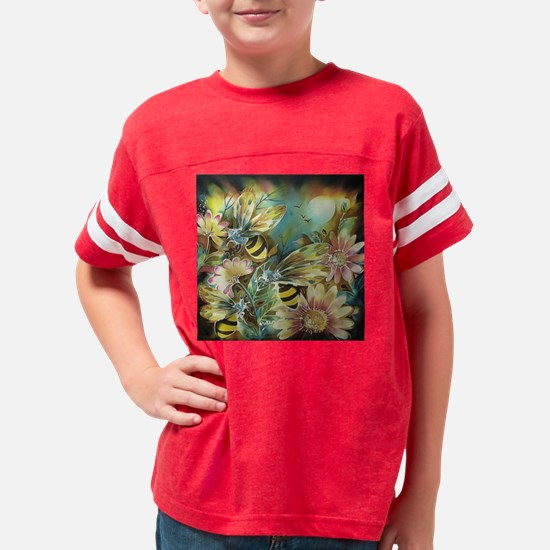 luminous bees and flowers Youth Football Shirt