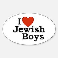 I Love Jewish Boys Oval Decal