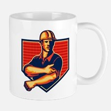 Construction Worker Rolling Up Sleeve Retro Mug