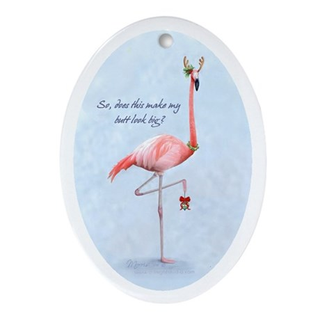 flamingo holiday humor Oval Ornament