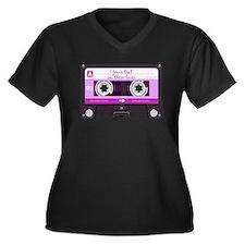 Cassette Tape - Pink Women's Plus Size V-Neck Dark