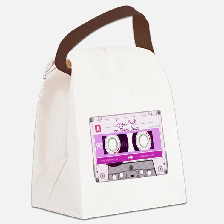 Cassette Tape - Pink Canvas Lunch Bag