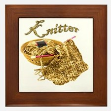 Knitter - Hand Knit Chenille Yarn Framed Tile