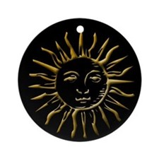 Sun Gold on Black Ornament (Round)