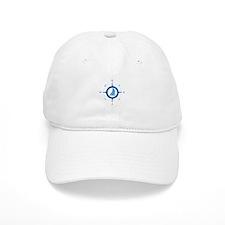 Sailboat And Blue Compass Baseball Baseball Cap