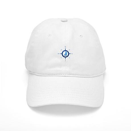 Sailboat And Blue Compass Baseball Cap