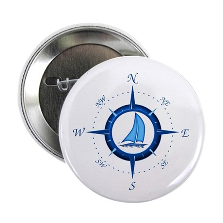 "Sailboat And Blue Compass 2.25"" Button (100 p"
