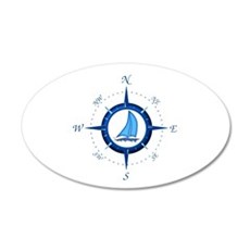 Sailboat And Blue Compass Wall Decal