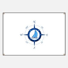 Sailboat And Blue Compass Banner
