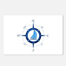 Sailboat And Blue Compass Postcards (Package of 8)