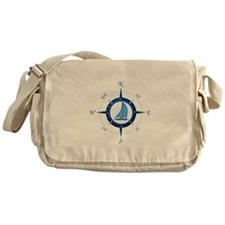 Sailboat And Blue Compass Messenger Bag