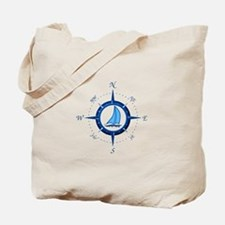 Sailboat And Blue Compass Tote Bag