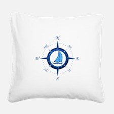 Sailboat And Blue Compass Square Canvas Pillow