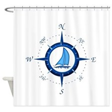 Sailboat And Blue Compass Shower Curtain