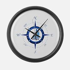 Sailboat And Blue Compass Large Wall Clock