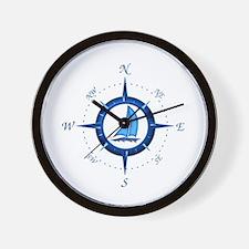 Sailboat And Blue Compass Wall Clock