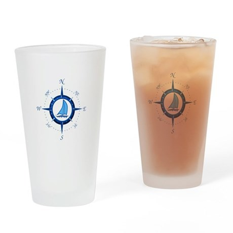 Sailboat And Blue Compass Drinking Glass