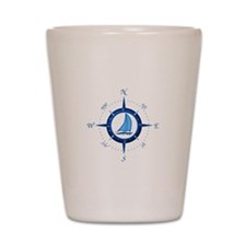 Sailboat And Blue Compass Shot Glass