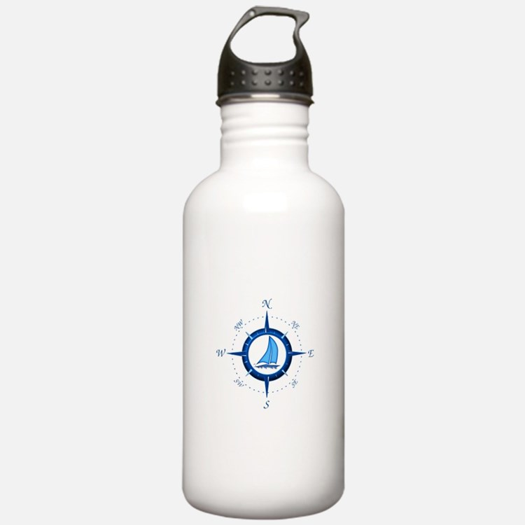 Sailboat And Blue Compass Water Bottle