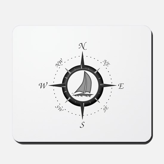 Sailboat and Compass Rose Mousepad