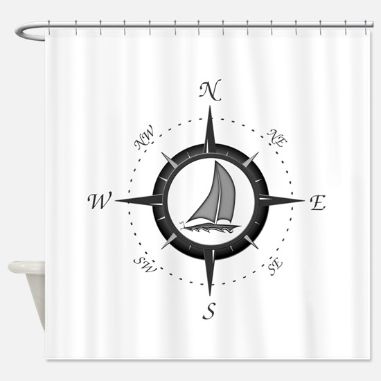 Sailboat and Compass Rose Shower Curtain