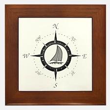 Sailboat and Compass Rose Framed Tile