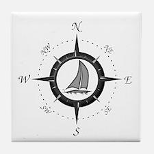 Sailboat and Compass Rose Tile Coaster