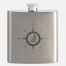 Sailboat and Compass Rose Flask
