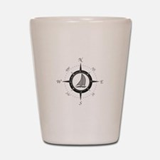 Sailboat and Compass Rose Shot Glass