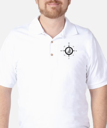 Sailboat and Compass Rose Golf Shirt
