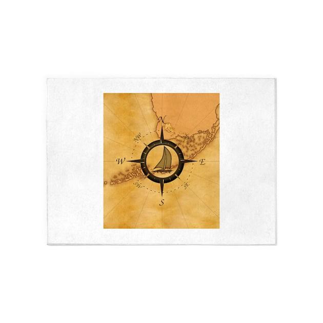 Nautical Compass Rose Rug: Key West Compass Rose 5'x7'Area Rug By BailoutIsland