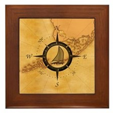 Key West Compass Rose Framed Tile