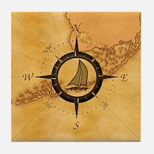 Key West Compass Rose Tile Coaster