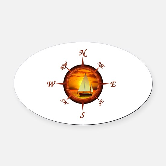 Compass Rose And Sunset Oval Car Magnet