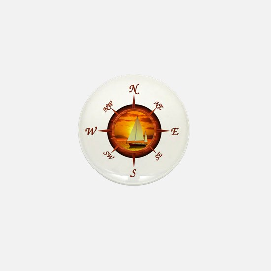 Compass Rose And Sunset Mini Button