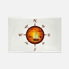 Compass Rose And Sunset Rectangle Magnet
