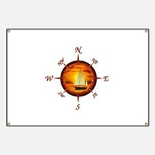Compass Rose And Sunset Banner