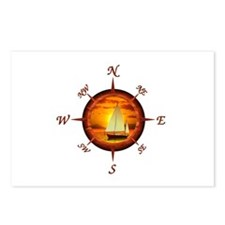 Compass Rose And Sunset Postcards (Package of 8)