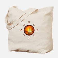 Compass Rose And Sunset Tote Bag