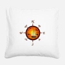 Compass Rose And Sunset Square Canvas Pillow