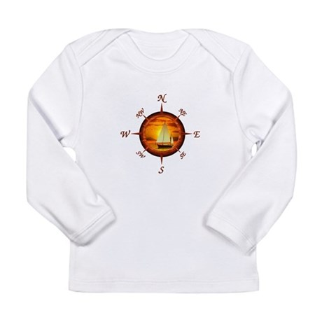 Compass Rose And Sunset Long Sleeve T-Shirt