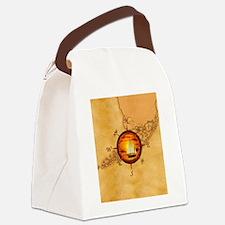 Florida Keys Map Compass Canvas Lunch Bag